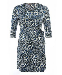 Lovedrobe Blue Leopard Print Wrap Dress