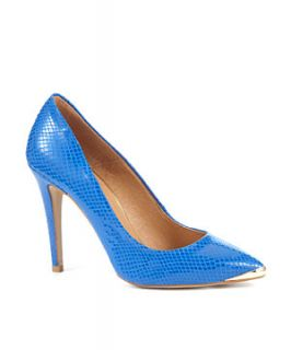 Limited Blue Snake Print Gold Cap Court Shoes