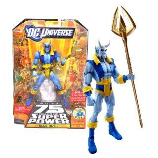 "Mattel Year 2009 DC Universe ""DC Comics 75 Years of Super Power"" Wave 13 Classics Series 6 Inch Tall Action Figure #6   BLUE DEVIL with Trident and Trigon's Upper Body Plus Bonus Collector Pin (R5789) Toys & Games"