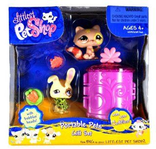 "Hasbro Year 2007 Littlest Pet Shop ""Cuddliest"" Series Portable Pets Bobble Head Figure Box Gift Set   Brown Raccoon (#583) and Yellow Bunny Rabbit (#582) Plus Flower Collar, Bowl with ""Carrots"" and Cozy Carrier (65134) Toys & Games"