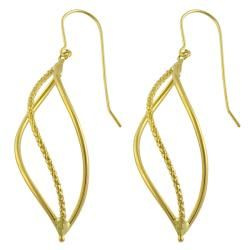 14k Yellow Gold Diamond cut Leaf Dangle Earrings Gold Earrings