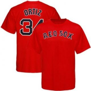 Red Sox   Majestic MLB Name and Number Tee   Men's   Ortiz, David (sz. M, Red  Ortiz, David  Red Sox)  Sports Fan T Shirts  Clothing