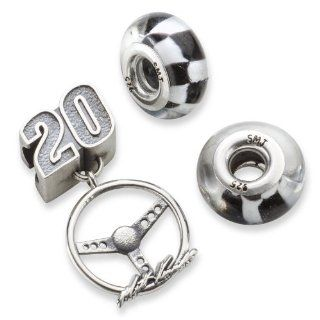 #20 Matt Kenseth Sterling Silver Two Crossed Flag Driver Number & Signature Steering Wheel Bead Set Jewelry