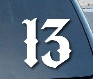 "Lucky Number 13 Car Window Vinyl Decal Sticker 4"" Tall (Color White)"