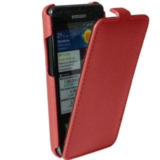 iGadgitz Red Genuine Leather Flip Case Cover Holder for Samsung i9100 Galaxy S2 Android Smartphone Cell Phone. SUITABLE FOR AT & T MODEL ONLY (model number SGH I777) Cell Phones & Accessories