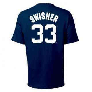 Nick Swisher Majestic Name and Number Navy New York Yankees T Shirt Clothing