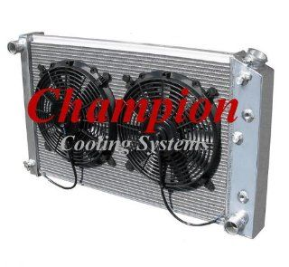 "3 Row All Aluminum Replacement Radiator AND 12"" Reversible Dual Fans for Multiple GM Applications and Models Buick, Apollo, Century, LeSabre,Regal, Skylark, Seville, Blazer/Jimmy, Camaro, Caprice, Plymouth, Oldsmobile, Cadillac, and More   Manufactur"
