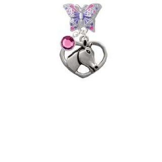 Heart with Horse Head Butterfly Charm Bead Dangle with Crystal Drop Delight & Co. Jewelry