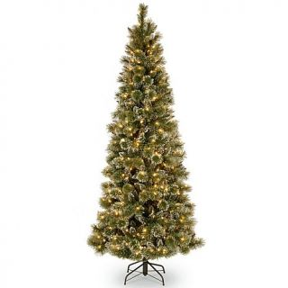 7.5 ft. Glittery Bristle Pine Slim Tree with Soft White LED Lights