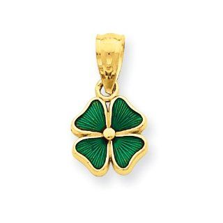 14k Green Enameled Four Leaf Clover Pendant Jewelry