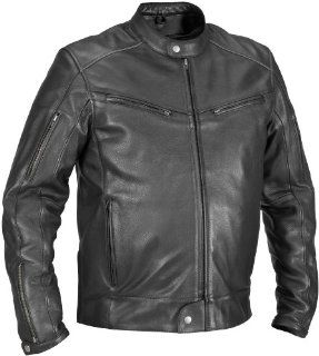 River Road Muskogee Cool Leather Jacket , Gender Mens/Unisex, Apparel Material Leather, Size 44, Primary Color Black, Distinct Name Black XF09 4957 Automotive