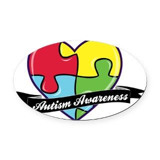 AutismAwareness heart Oval Car Magnet by Admin_CP19565723
