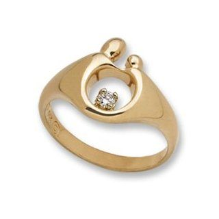 Mother & Child Small Yellow Gold Ring w/Diamond Janel Russell Jewelry