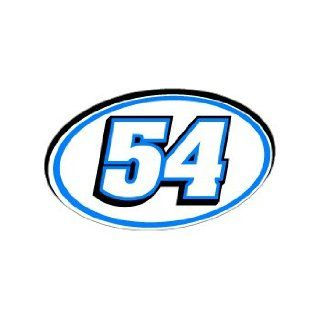 54 Number Jersey Racing   Blue   Window Bumper Sticker Automotive