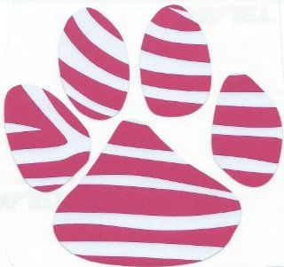 5 X 5 Pink and White Dog Cat Paw Print Vinyl Bumper Sticker Decal