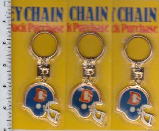 "Lot of 3 Vintage 1980s NFL Denver Broncos Helmet Key Chain with Old ""D"" Throwback Logo. 1988 Camel promo keychain sealed in original packaging"