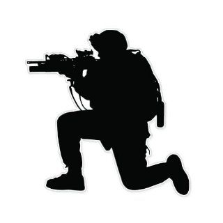 US Soldier Silhouette Army Shooter Guns Car Sticker Decal 4""