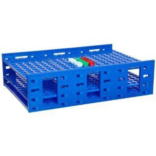 Heathrow Scientific HD24322A Polypropylene Mega Tube Rack, 216 Tubes, Blue Science Lab Tube Racks
