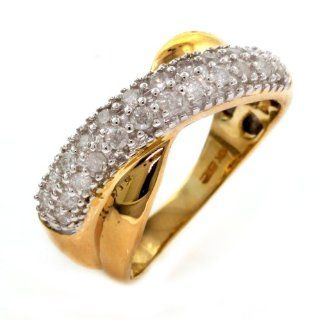 10k Yellow Gold Diamond Criss Cross Pave Ring (1/2 cttw, I J Color, I2 I3 Clarity), Size 8 Jewelry