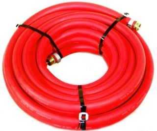 "Water Hose Goodyear 1/2"" x 100' RED RUBBER Industrial 200psi with Brass Fittings   Heavy Duty   USA"