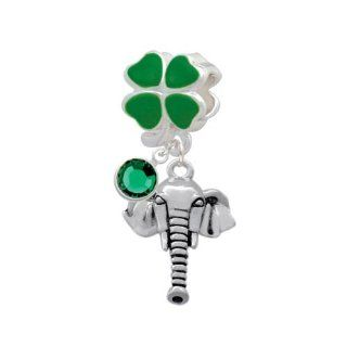 Lucky Elephant Head Green Four Leaf Clover European Charm Bead Hanger with Emerald Crystal Drop Delight Jewelry Jewelry