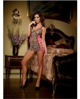 Stretch Mesh Chemise w/Fuchsia Lace Open Sided Strap Detail & Thong Leopard O/S Health & Personal Care