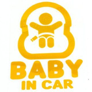 Baby in Car Printed Safety Sign Self Adhesive Decal Sticker Yellow for Car Automotive