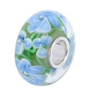 Blue Hawaii Murano Glass and Sterling Silver Bead Charm   Pandora Charms