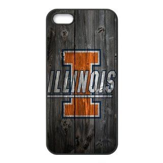 WY Supplier NCAA iphone 5 5S case New Design wood NCAA Illinois Fighting Illini logo Cases Cover for Apple Iphone 5 5S case, NCAA Apple Iphone 5 5S Slim fit phone case Cover Cell Phones & Accessories