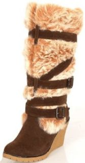 FASHION FUR Trim Buckle BROWN Knee High SNOW BOOTS 6.5 Shoes