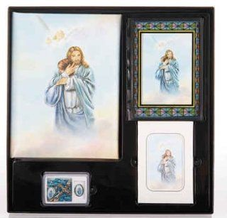 Jesus with Boy in Heaven Memorial Package Cristo Series Memorial Package Includes Register Book, Book Mark, Crystal Rosary, Prayer Plaque, 50 Acknowledgement Cards, & 104 Memorial Prayer Cards Cromo Nb Artwork   Milan, Italy