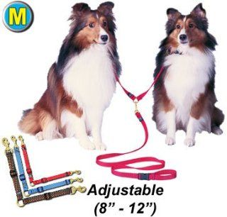Adjustable Double Dog Leads   Medium   Baby Blue   Walk two dogs at once