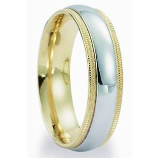 6.0 Millimeters Two Tone Gold Wedding Band Ring 14Kt Gold, Comfort Fit Wedding Rings by Oromi Jewelry