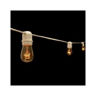 Commercial Edison String Lights, 50 Clear Bulbs, 100 ft. White Wire  String Lights Incandescent  Patio, Lawn & Garden