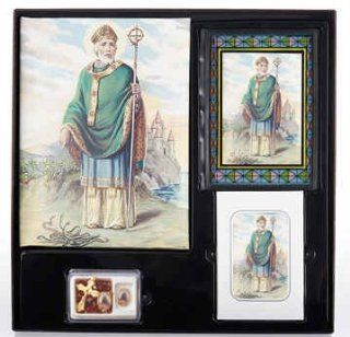 Beautiful Saint Patrick Cristo Series Memorial Package Includes Register Book, Book Mark, Crystal Rosary, Prayer Plaque, 50 Acknowledgement Cards, & 104 Memorial Prayer Cards Cromo Nb Artwork   Milan, Italy