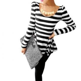 Allegra K Lady Stretchy Scoop Neck Long Sleeves Stripes Tunic Shirt Black White S