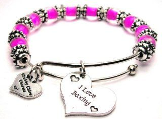I Love Boxing Hot Pink Glass Beaded Bangle Adjustable Bracelet ChubbyChicoCharms Jewelry
