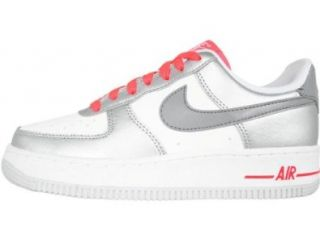 Nike Air Force 1 (GS) Youth Basketball Shoes (White/Mtlc Cl gry Mtllc Slvr S) 6y Shoes