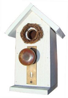 "Funky Randy Birdhouse 12.5""   Antique White Door Knob Key Plate Usable Free Stand R 109 Patio, Lawn & Garden"
