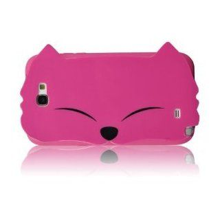 I Need (TM) Samsung Galaxy Note 2 N7100 Fox Style Big Face Shape Series Big Eyes Style Soft Case/Cover/Protector (HOT PINK) Cell Phones & Accessories
