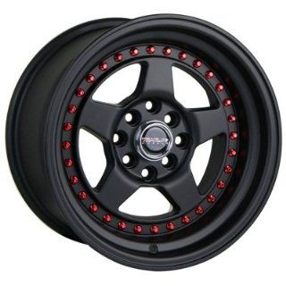 Traklite APEX 15x8.25 4x100 4x114.3 20mm All Matte Black Red Rivets (complete set of 4) Automotive