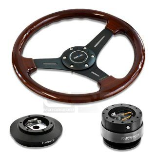 "NRG Innovations 13"" 330mm Deep Dish Style Wood Grain Black Spokes Racing Steering Wheel Combo with 6 Hole Short Hub Adapter with Gen 2.0 Orange Quick Release Kit SRK 121H Automotive"