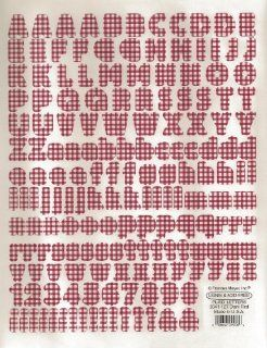 Dark Red Plaid Alphabet Letters and Numbers Scrapbook Stickers (5041 127)