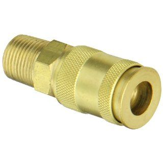 "Dixon Valve 2CJM3 B Brass European High Flow Interchange Pneumatic Fitting, Socket, 1/4"" Coupler x 3/8""   18 NPT Male Thread"