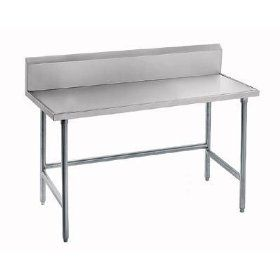 "14 Gauge Advance Tabco TVKG 2411 24"" x 132"" Open Base Stainless Steel Commercial Work Table with 10"""