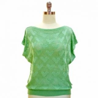 Sage Green Open Knit Heart Pattern Short Sleeve Sweater Top Size Small/Medium