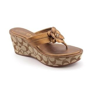 Coach Harley Womens Size 9.5 Bronze Leather Wedge Sandals Shoes New/Display Shoes
