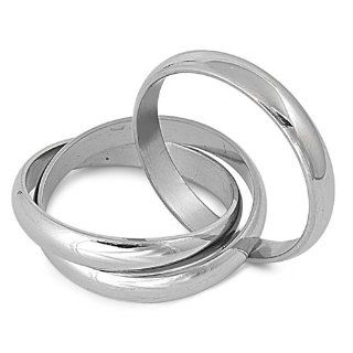Silver Tone Interlocked Rolling Rings Stainless Steel Band Ring Size 6 11 Jewelry