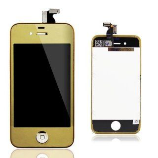 Conversion Kits LCD Assembly Repair Parts Housing for iPhone 4S  Plated Mirror Half Gold Cell Phones & Accessories
