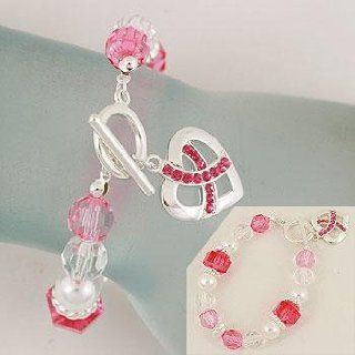 Bracelet ~ Breast Cancer ~ Pink Ribbon Heart Charm ~ White/Pink/Clear Beads